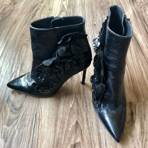 ZARA black ankle booties with floral add ons
